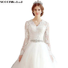 Buy SOCCI Weekend Crystal Sashes Lace Long Sleeve Vantage Wedding Dress 2017 China Bride Vestido De Noiva Luxury Bridal Gowns for $101.52 in AliExpress store