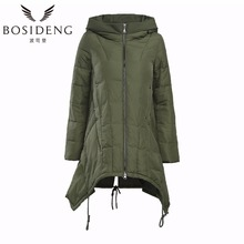 bosideng women's winter coat winter down jacket thick hooded dovetail with pleated bottom long jacket clearance sale B1401260