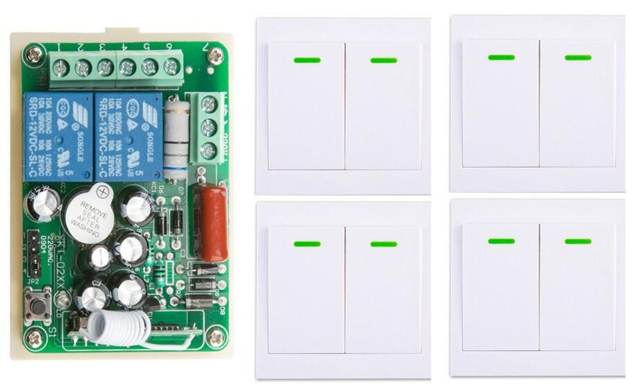 New AC220V 2CH Wireless Remote Control Switch System Receiver + 4*Wall Panel Remote Transmitter Sticky Remote Smart Home Switch<br>