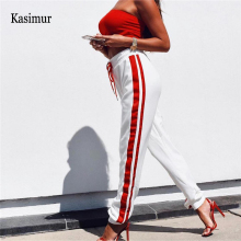 Kasimur New Style Women Sexy Side Patchwork Pencil Pants Womens Casual Elastic Waist Party Trousers Lady Lace Up Fashion Bottoms(China)