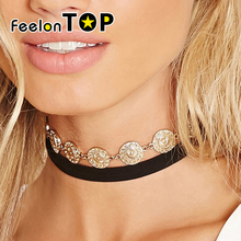 Gothic Jewelry Punk Rock Choker 90s Long Black peach skin Chain Round Gold-Color Coin Decoration Choker Necklace Grunge Jewelry