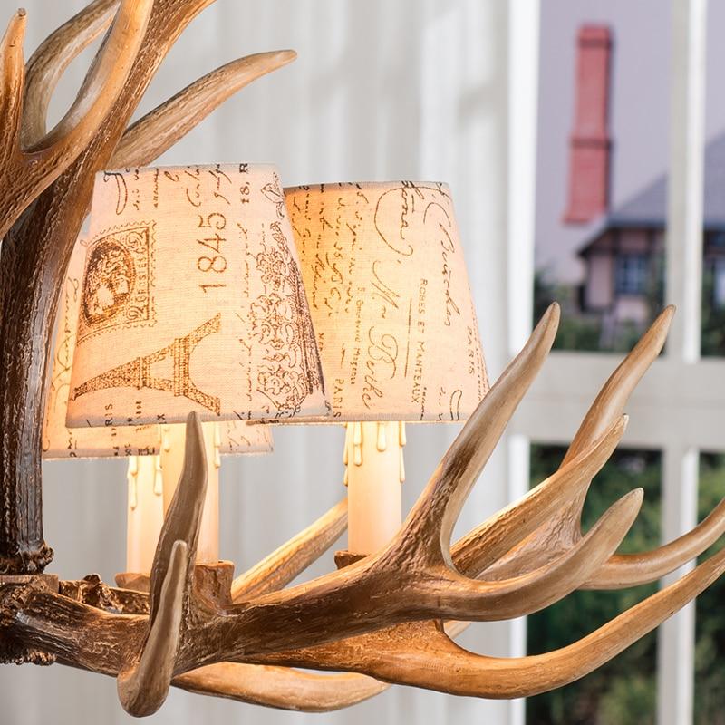 Europe E14 6 8 10 Heads American Deer Horn Antler Pendant Lamp Resin Antler Lampshade Parlor Hall Decor Suspension Luminaire B4