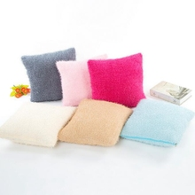 6 Colors Simple Solids Decorative Short Plush Cotton Square House Office Cushion Cover Pillow Case Home Supplies(without core)