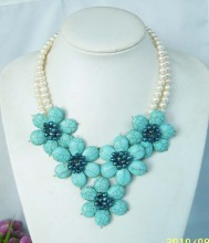 2017 Top Fashion New Collier Necklaces & Pendants Maxi Necklace Fashion Jewelry, Handmade 5 Turquoises Flower Choker Necklace(China)