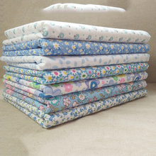 7 pcs/lot 25*25cm Blue plain thin Patchwork Cotton dobby Fabric Floral Series Quilt Charm Quarters Bundle Sewing C