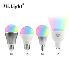 100% Original Mi. Light 2.4G / WiFi Control RGBW RGB WW LED lamp 4W 5W 6W 9W GU10 E27 E14 110V - 220V Dimmable Smart LED Bulb
