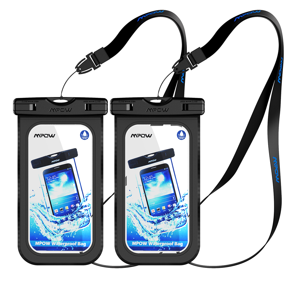 Original Mpow 2PCS IPX8 Waterproof Case 6'' Universal Phone Dry Bag Swimming Diving Pouch Cover for iPhone 7 Plus etc Cellphones(China (Mainland))