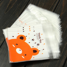 100pcs/lot Christmas Gift Cookie Packaging Lovely Bear Self-adhesive Plastic Bags for Biscuits Snack Baking Package Storage Bags