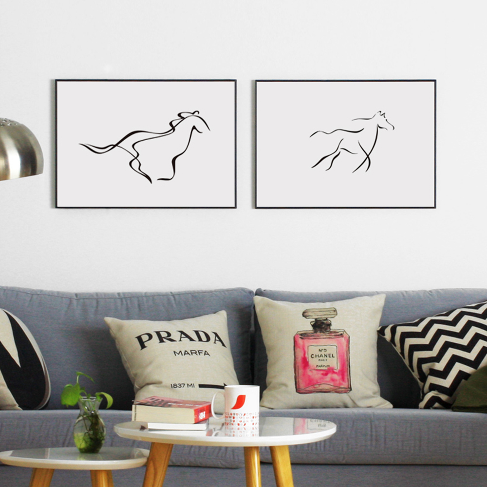 Nordic-Modern-Minimalist-Black-White-Drawing-Horse-Curve-Abstract-Art-Print-Poster-Image-Canvas-Mural-Home