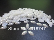 7*14MM 48pcs/lot ABS White Horse Eye Half Pearls gems 15010031(7*14D48)