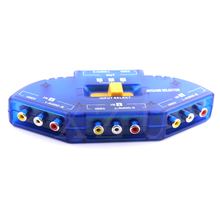 Newest Blue 3 Ports Video Switcher Game AV Signal Switch Cable AV RCA AV Splitter Audio Converter for XBOX for PS TV