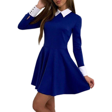 Buy Winter Cute Women Turn-Down Collar Casual Dresses Elegant Long Sleeve Office Mini Dress 2017 Autumn Sexy Vestido De Festa GV445 for $9.74 in AliExpress store