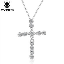 HOT Big Cross N668 Shining Lowest price Christ Jesus necklace Religion women silver crystal CZ stone mercy jewelry 925 sterlingl
