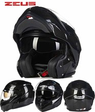 2016 New ZEUS dual lens undrape face motorcycle helmet open motorbike racing helmets made carbon fiber ZS-3500E Black - Automobile tribe store