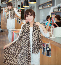 Spring Winter Sexy Hot Sale 150*38cm Fashion Long Leopard Printed Shawl Lady Chiffon Women Silk Scarf Wrap For Woman