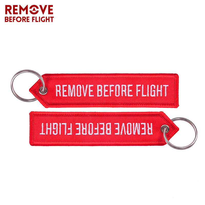 Remove Before Flight OEM Key Chains Berloques Red Embroidery Highlight Key Fobs Chains Jewelry Aviation Gifts Chaveiro Masculino (1)