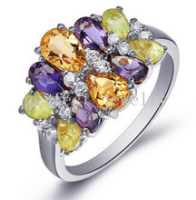 Gem ring including amethyst,citrine,peridot 925 sterling silver Per jewelry Free shipping 0.5ct*8pcs,0.9ct*2pcs gems #15022301