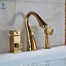 Ulgksd Gold Bathroom Bathtub Faucet Water Tap Deck Mount Waterfall 3pcs Bathroom Faucet Hot and Cold Sinks Mixter Tap(China)