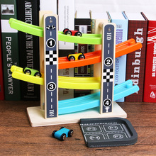 6 PC Funny Mini Wooden Vertically Rail Slide Car(China)