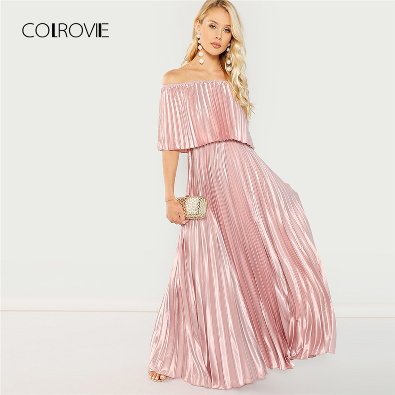 COLROVIE Pink Off the Shoulder Flounce Pleated Satin Girls Sexy Dress Women 2018 Autumn Party Dress Club Elegant Maxi Dresses