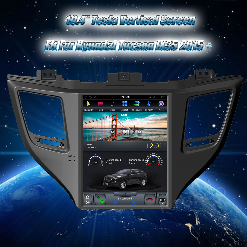 Krando 10.4 '' Vertical screen android car radio multimedia for Hyundai IX35 tucson 2015+ big screen navigation with gps system (3)