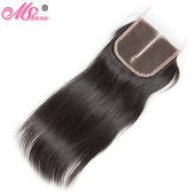 Mshere Peruvian Straight 4x4 Swiss Lace Closure 130% Density Middle Part Closure With Baby Hair Remy Hair 100% Human Hair 1B#(China)