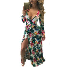 2016 New Hot Selling Autumn Long Bodycon Dresses Long Sleeve Deep V Neck Sashes  Pattern Floral Women Maxi Dress Vestidos