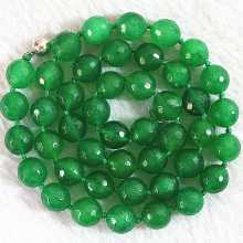 5 style necklace for women natural stone dyed green jades stone chalcedony faceted round beads chain choler jewelry 18inch B648