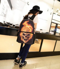 1 piece 2017 New Women Men Casual canvas Ghost Rider Fire Skull Backpack Unisex big Bag Schoolbag