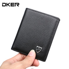 Genuine Leather Mini Wallet Real Leather Men's Purses Vertical Small Purse for Male Men Fashion Leather Wallet