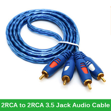 AV Cable 2RCA to 2RCA Cable Gold Plated 3.5 Jack Audio RCA Cables Headphone AUXJack Splitter for Computer Speaker