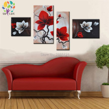 Hand Painted 4 Piece Art red White Flower wall Oil Painting On Canvas Abstract Landscape Artwork living room decorations Sale(China)