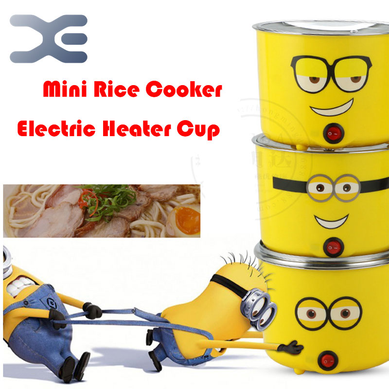Mini Rice Cooker 220V Cartoon Logo Rice Cooker Stainless Steel Pot Eletrodomestico Para Cozinha Electric Heater Cup<br>