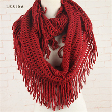 LESIDA Knit Scarf Winter Warm Ring Scarf Women Neck Scarves Infinity Scarf Tubes Hijab Sjaal Femme Bufandas Dama 80*50CM 4057(China)
