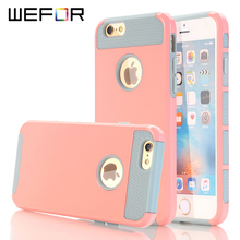 WeFor Hybrid Heavy Duty Case 2-in-1 Style Rubber+Hard Phone Case for Apple iPhone 5/5S/SE/6/6S/6 Plus/6S Plus 4.7/5.5 Cute Funda(China)