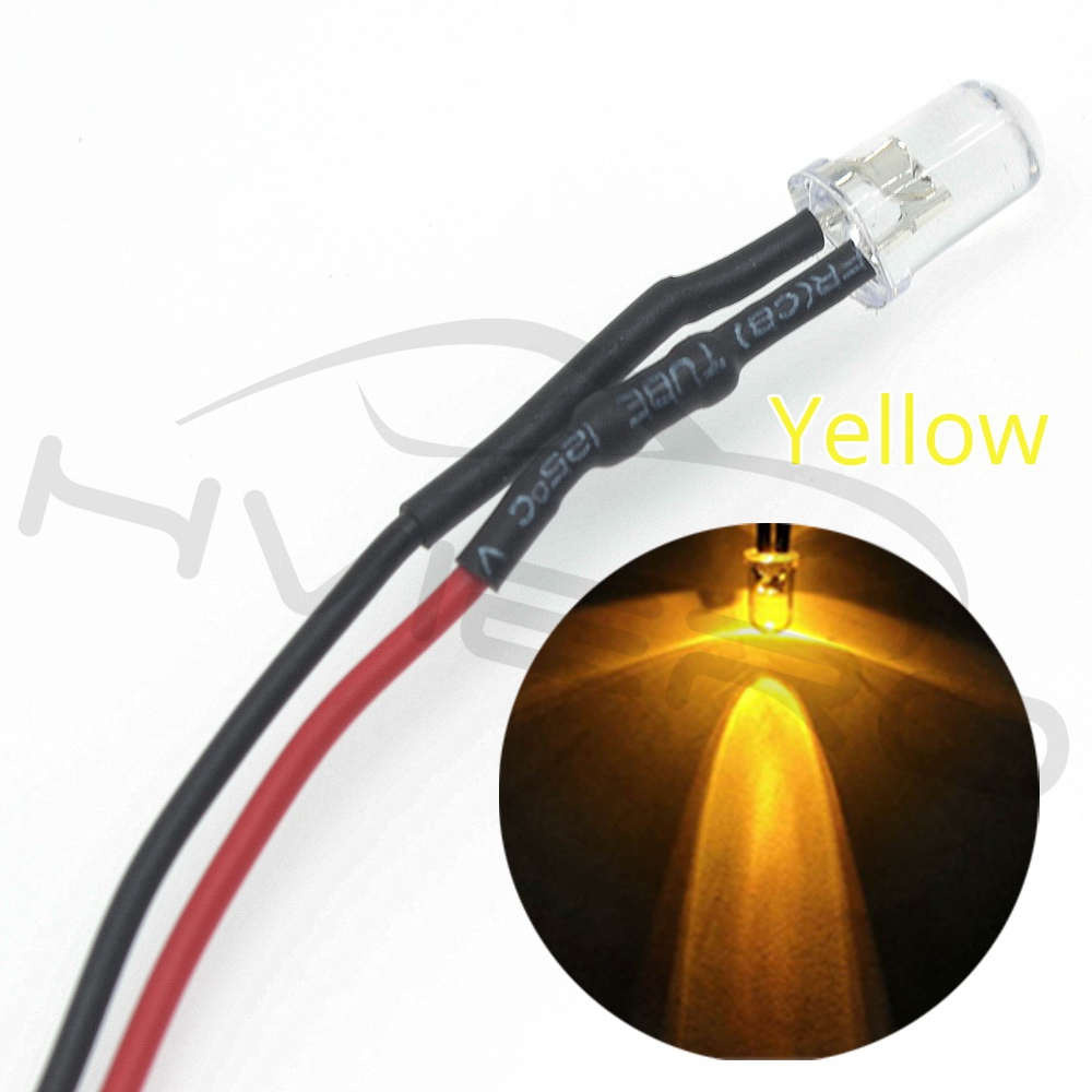 Hviero 5mm Round 20cm Pre Wired DC 12V LED Lamp Light Bulb White Red Blue Green Yellow White Warm White Diode Emitting Diodes