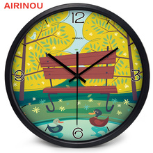 Airinou Children Baby Room Lovely Circular Glass Cartoon Duck The River Front Wall Clock(China)