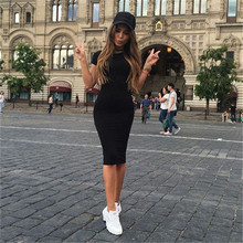 2017 Casual Summer Autumn Women Dress Elegant Ladies Sexy Solid Color Short Sleeve Round Neck Office Dresses Female Vestidos