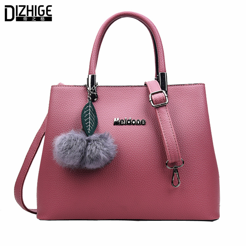 New Elegant Leather Bags Women Designer Handbags High Quality Ladies Messenger Bag Fashion Pompon Crossbody Bags For Women 2016<br><br>Aliexpress