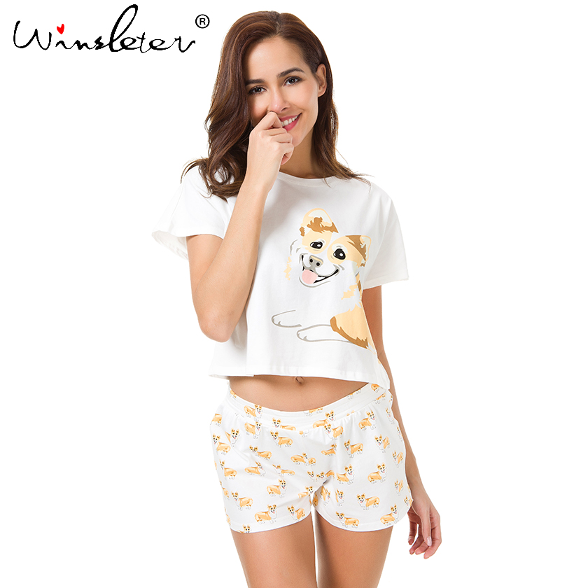 Corgi-Pajamas-Women-Cute-Dog-Print-Crop-Top-Shorts-2-Pieces-Set-Cotton-Pajamas-Loose-Elastic