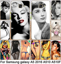 Unique! Sexy Women Rihanna Marilyn Monroe Audrey Print cell phone case For Samsung Galaxy A5 2016 A510 A510F Cases  cover shell