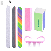 Belen Set For Nail Manicure Kit Nail Files Brush Durable Buffing Grit Sand Fing Art Accessories Sanding File UV Gel Polish Tools(China)