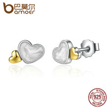 BAMOER Classic 100% 925 Sterling Silver LUMINOUS HEARTS ROMANTIC STUD EARRINGS For Women Fine Jewelry PAS477(China)