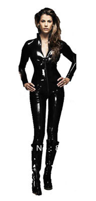 free shipping NEW SEXY PVC LEATHER LOOK CATSUIT LATEX CATSUIT VINYL PVC FETISH GOTHIC LEATHER LINGERIE LEATHER CATSUIT