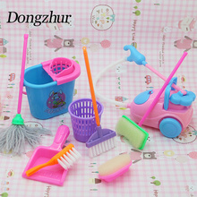 Dongzhur Pretend Play Games For Girls Toys For Children Cleaning Tool Set Broom Child Vacuum Cleaner Toy Household Appliances(China)