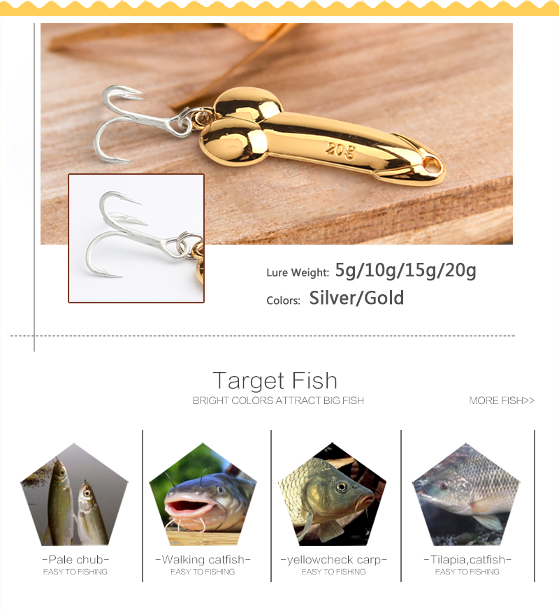 DD metal spoon fishing lure Feather Hook 5g 10g 15g silver gold metal fishing bait spinnerbait Treble Hook hard lures