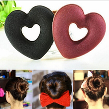 2015 New 5pcs/lot Foaming Sponge Band Heart Shape Hair Band Meatball Head Bud Fashion Bun Clip Good Donut Hair Accessories