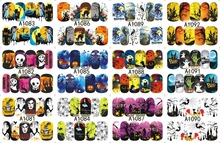 12 PACK/ LOT WATER DECAL NAIL ART NAIL STICKER SLIDER TATTOO FULL COVER HALLOWEEN WITCH BLACK CAT GHOST A1081-1092