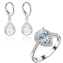 Yunkingdom new arrive Fashion Jewelry Sets  for Women lovely Water Drop Earrings white zircon Wedding Rings LPG23