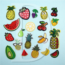 1 PCS Fruit parches Embroidered Iron on Patches for Clothing DIY Stripes Clothes Patchwork Stickers Pineapple Applique @ Z 22-39